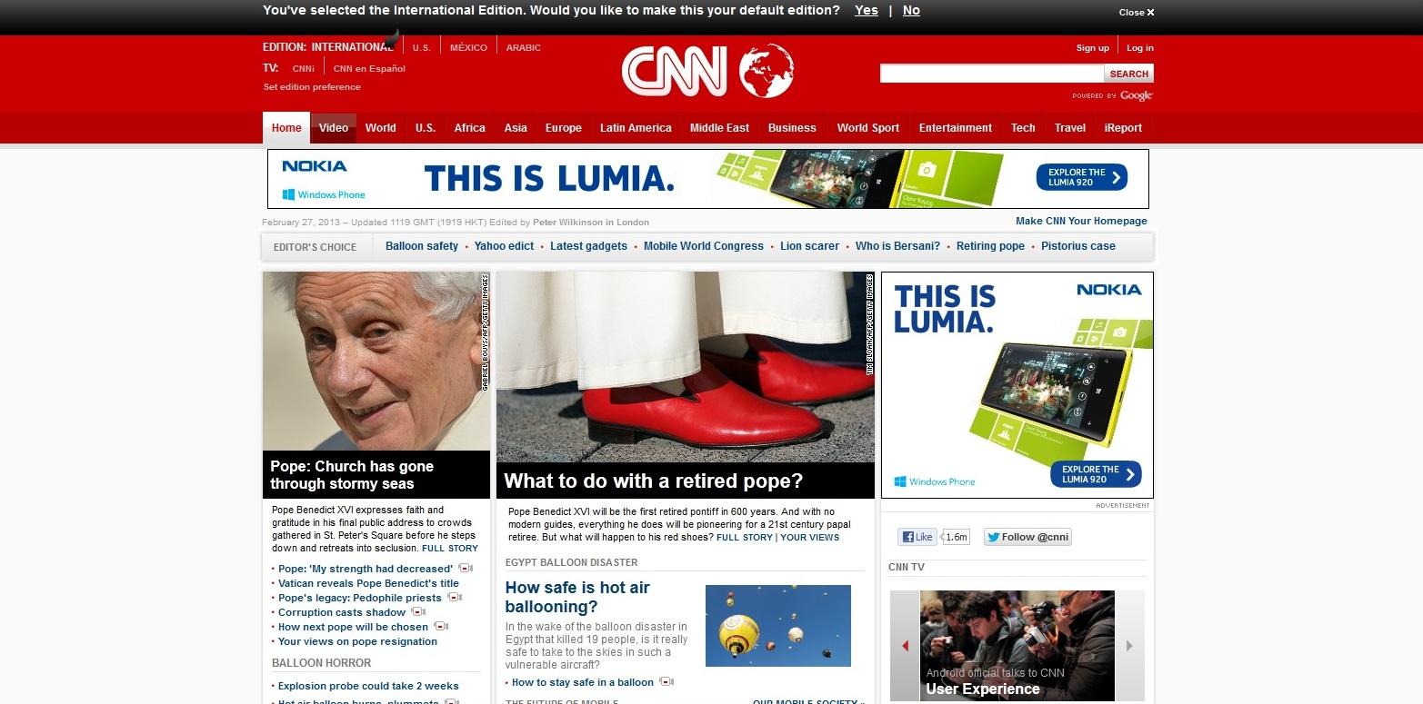 Dobar primer podnožja na sajtu CNN