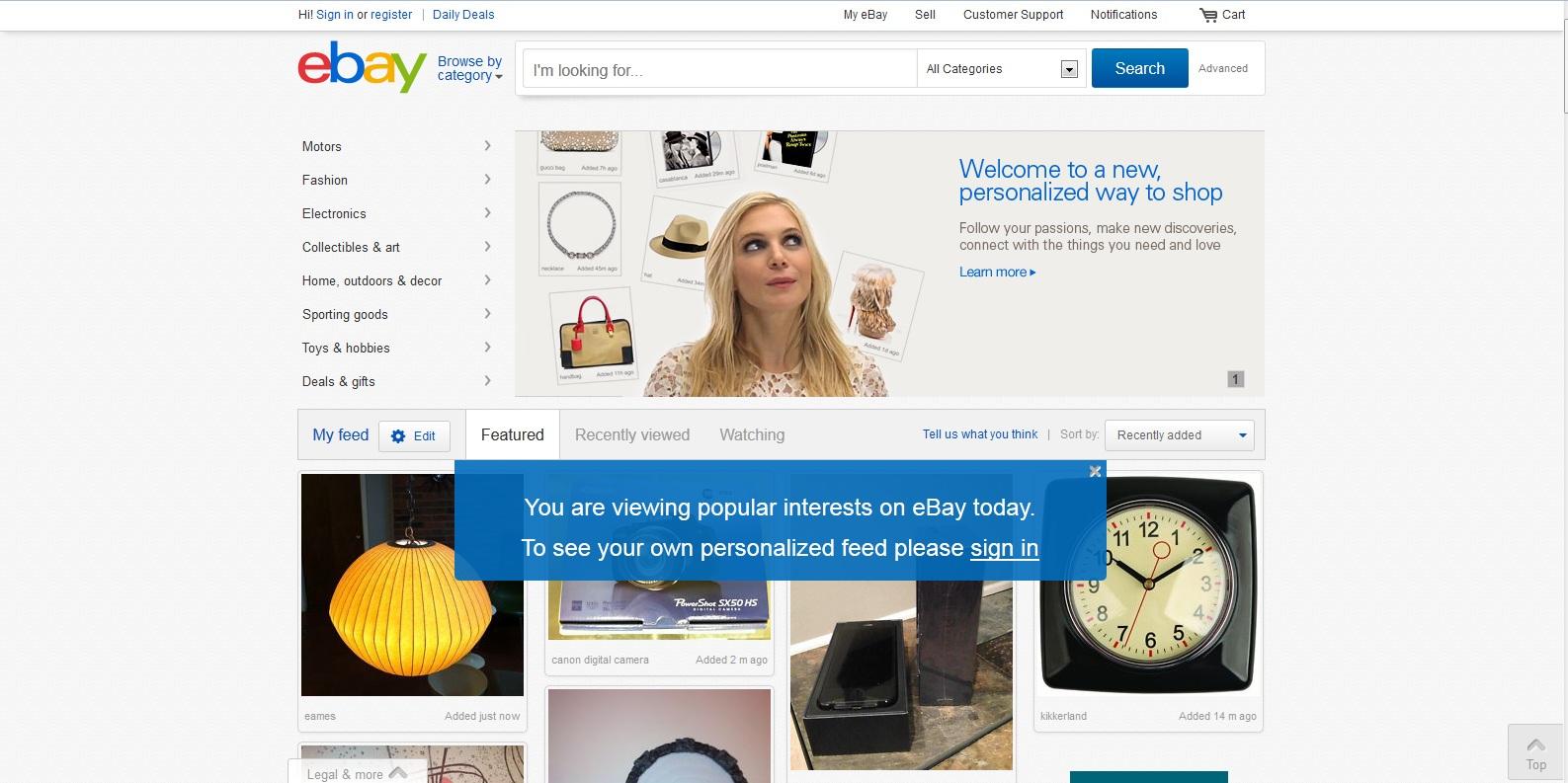 Dobar primer footer-a na stranici Ebay