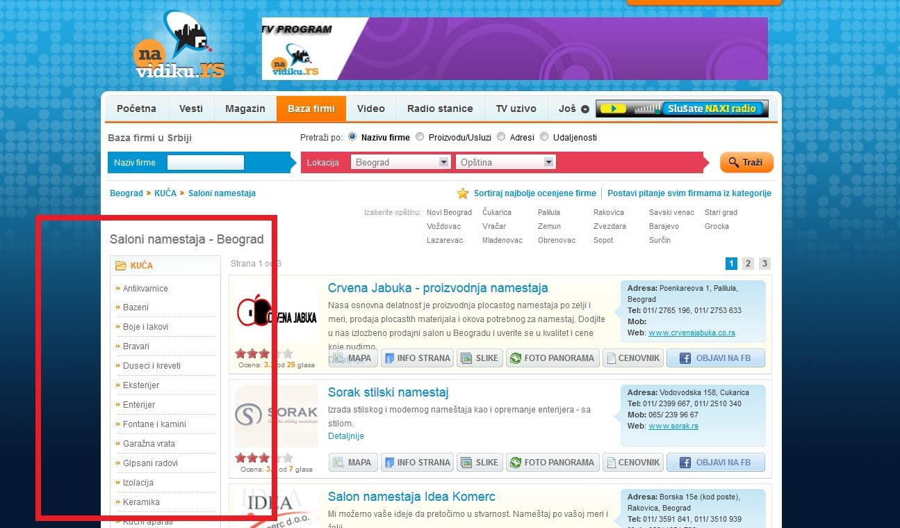 sidebar na sajtu Na Vidiku